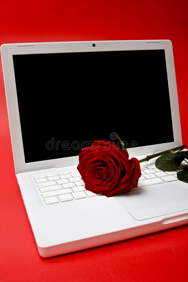 Be my valentine - online love. Computer and red rose royalty free stock photos