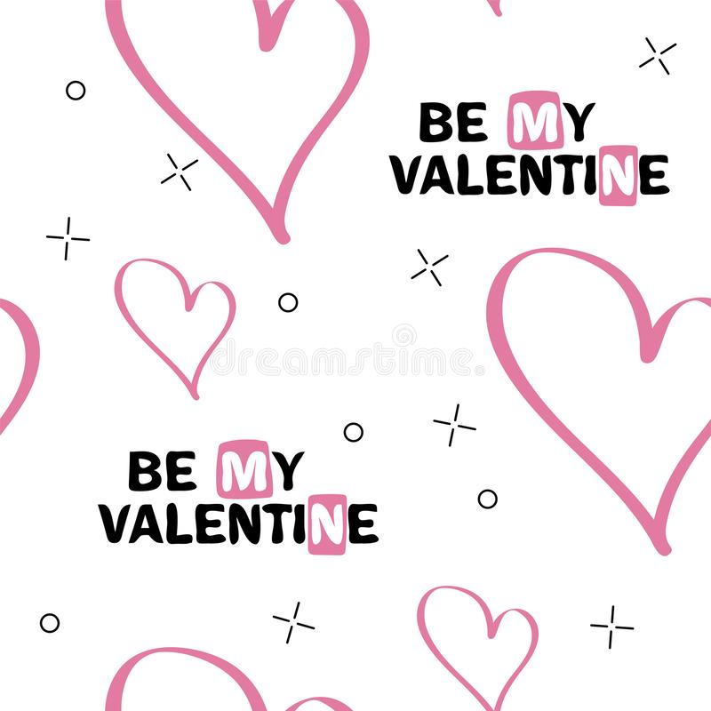 Be my Valentine. Original hand lettering. Typography design for romantic cards royalty free illustration