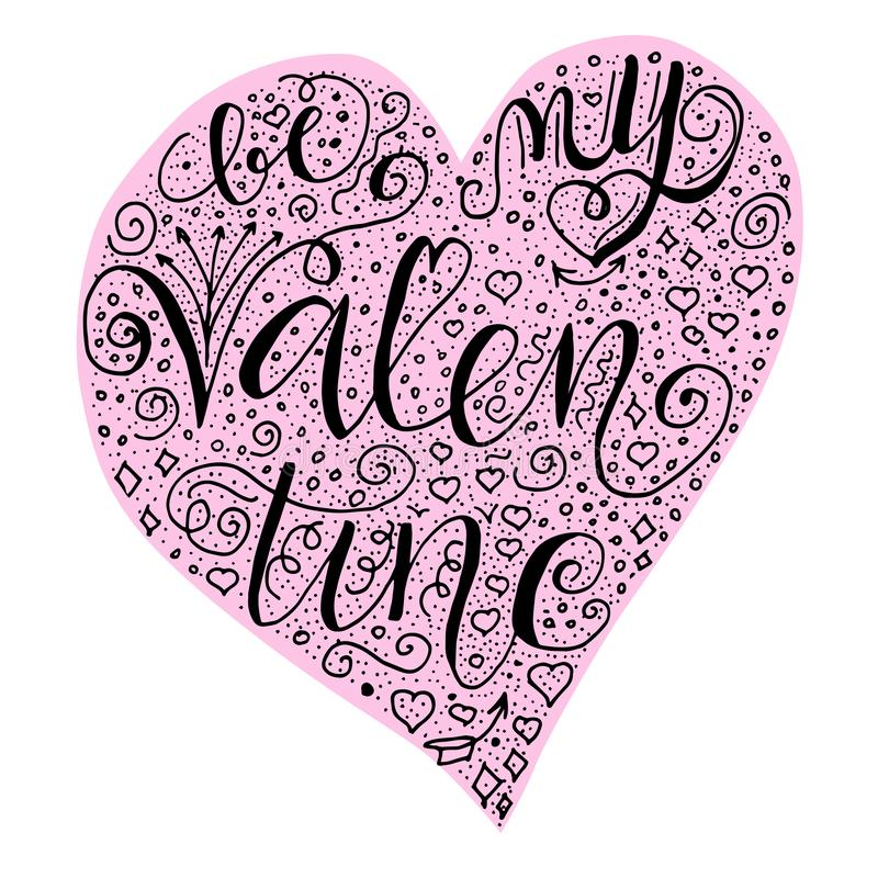 Be my valentine quote into hearth shape in light pink hearth shape on white blue background. royalty free illustration