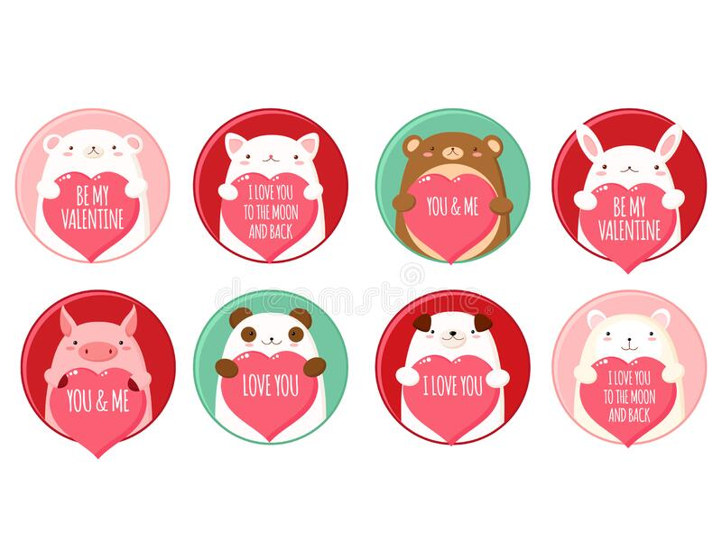 Set of round Valentine`s day round icons with cute animals vector illustration