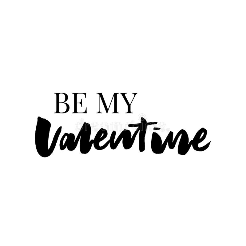 Be my Valentine text. Valentine's typography. Vector illustration of Valentine Greeting Card with heart. Black and golden. Typography royalty free illustration