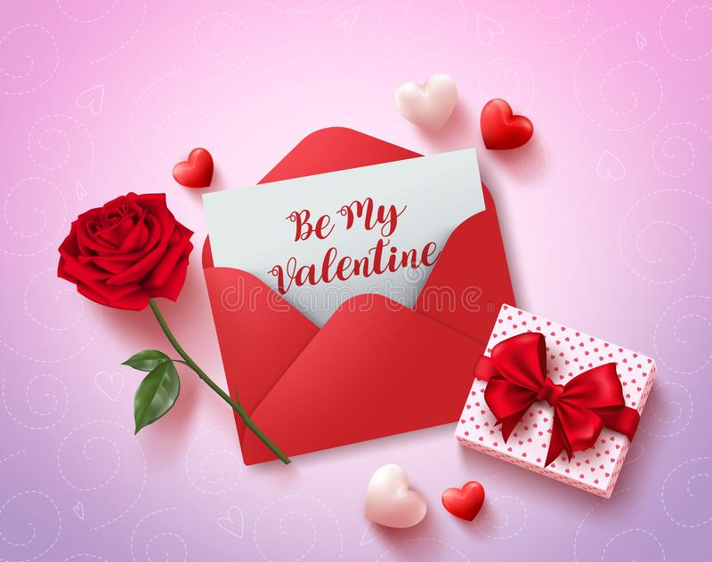 Be my valentines greeting card vector design with red love letter stock illustration