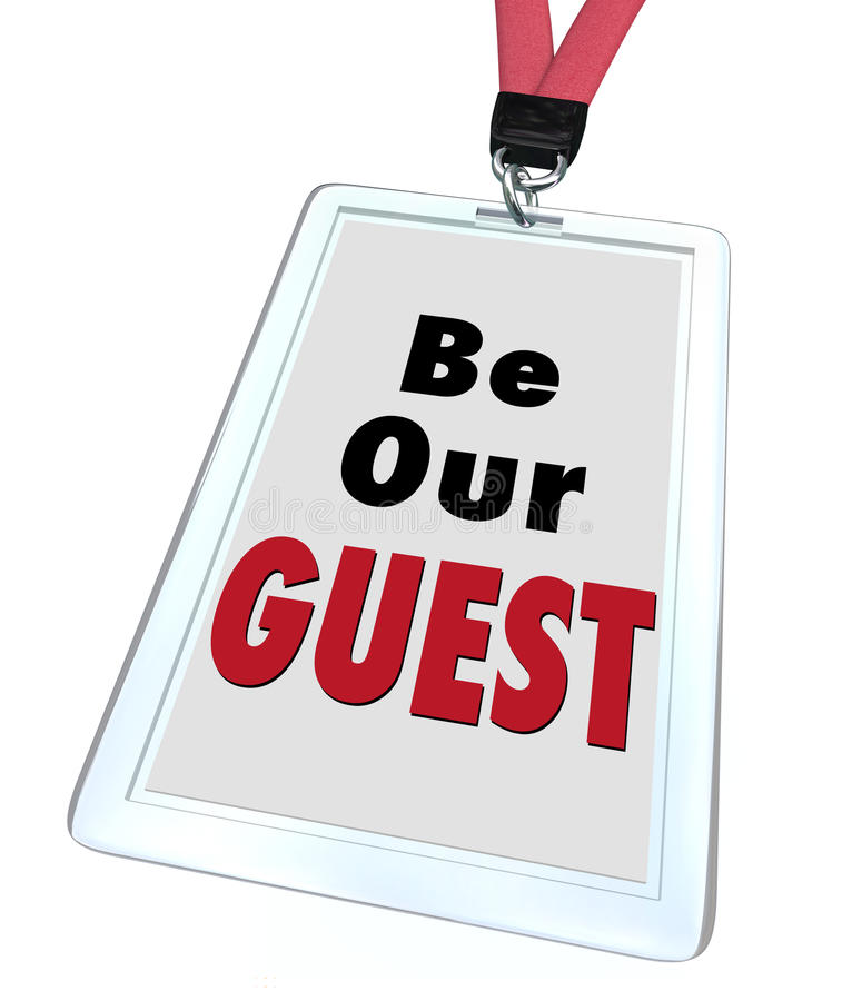 Be Our Guest Badge Lanyard Welcome Visitor royalty free illustration