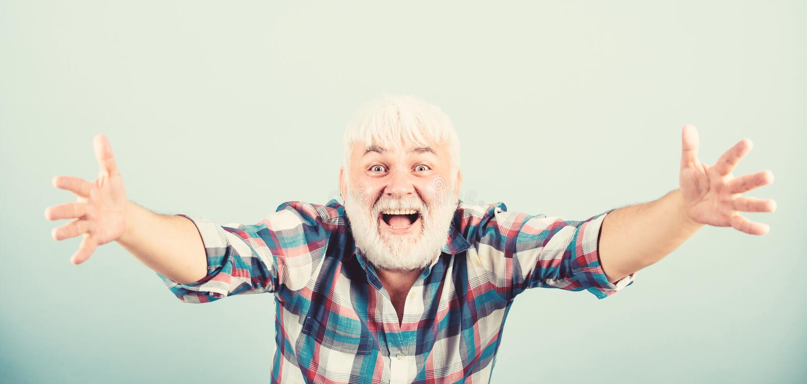 Be pampered. barber and hairdresser. male fashion. mature bearded man in white wig. Hairloss concept. health care. happy. Old granpa. senior man with gray beard royalty free stock images