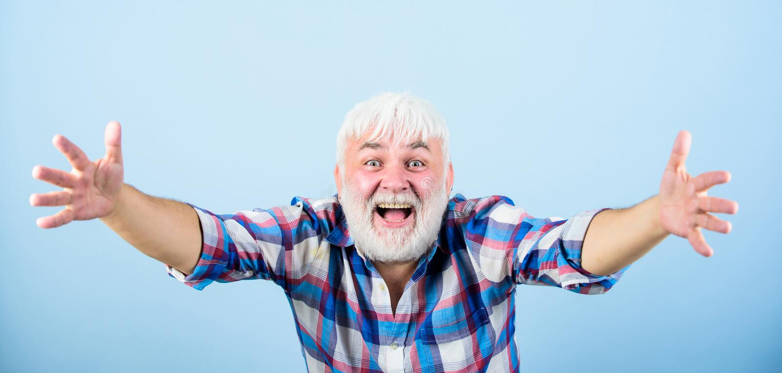 Be pampered. barber and hairdresser. male fashion. mature bearded man in white wig. Hairloss concept. health care. happy. Old granpa. senior man with gray beard stock image