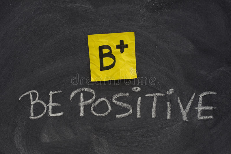 Download Be Positive Concept On Blackboard Stock Photo - Image of handwriting, motivation: 13167964