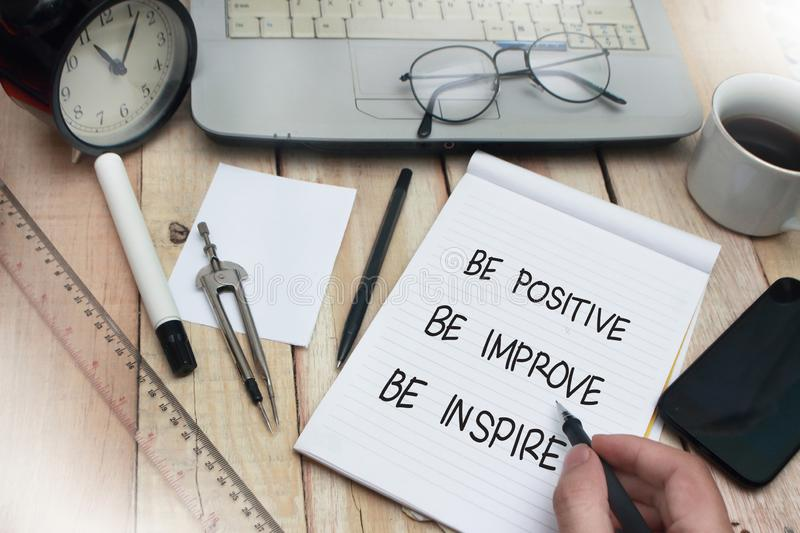 Be Positive Improve Inspire, Motivational Words Quotes Concept stock photos