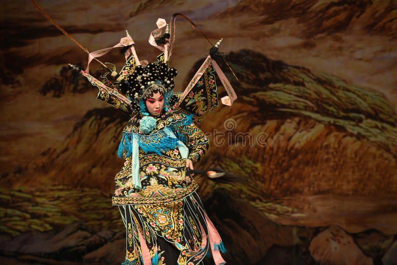 """Be preoccupied with-Yang Qiniang- Beijing Opera"""" Women Generals of Yang Family"""". This opera tells a patriotic story how does an old woman of a stock photography"""