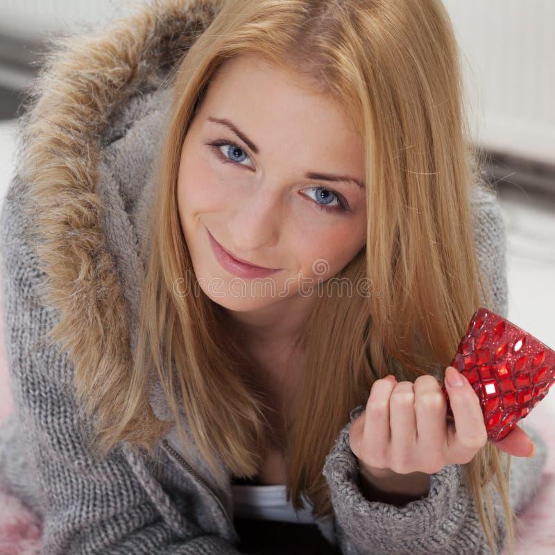 Be prepared for romantics. Girl preparing for romantic evening stock photo