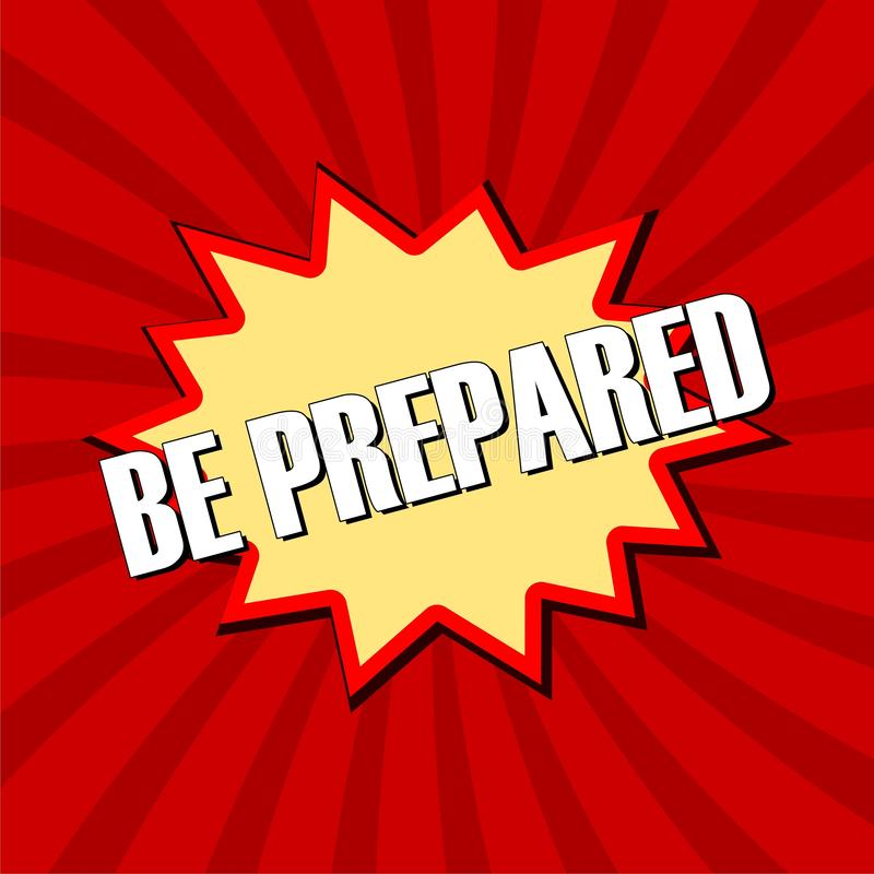 Be Prepared sign stock illustration