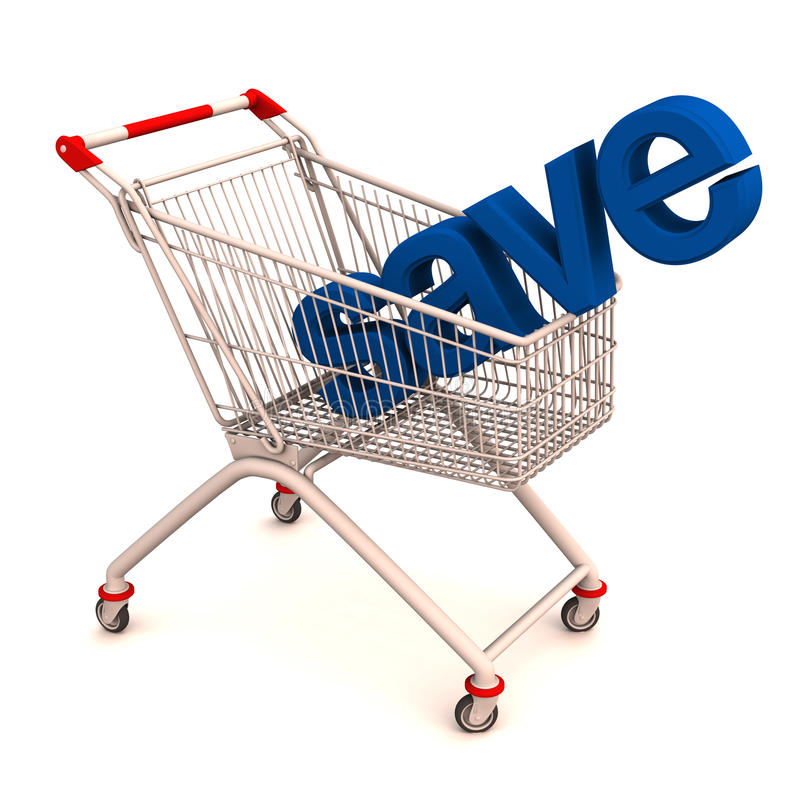 Be*sparen op het winkelen stock illustratie