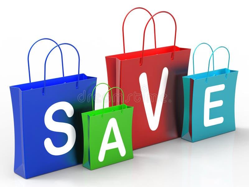 Be*sparen op het Winkelen toont de Zakken Koopjes vector illustratie