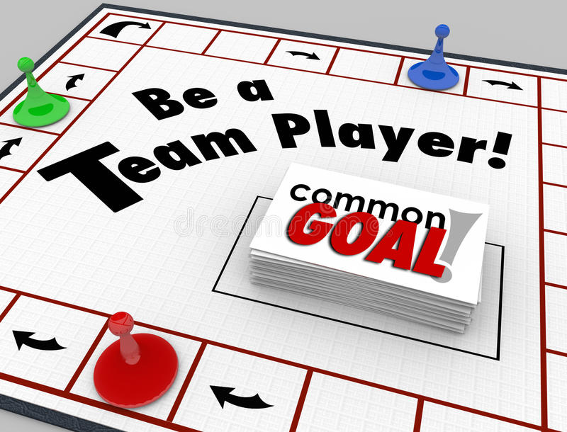 Be a Team Player Board Game Work Toward Common Goal Together vector illustration