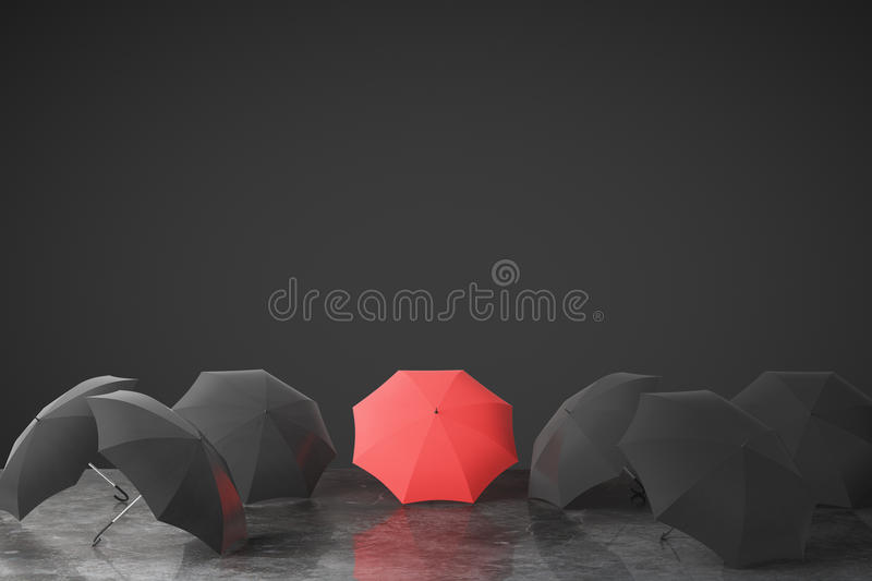 Be unique concept with many black umbrellas and one red on concrete floor at black wall background stock illustration