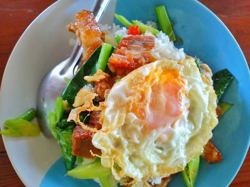 Be*wegen-gebraden boerenkoolgroente met knapperig varkensvlees over rijst royalty-vrije stock fotografie