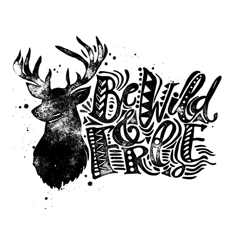 Free Be Wild And Free Concept Hand Lettering Motivation Poster. Royalty Free Stock Photos - 64849908