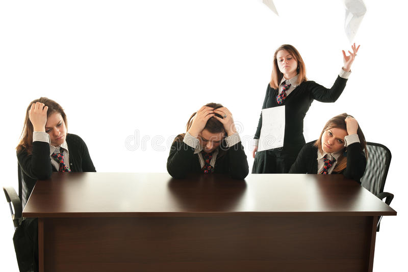 Be your own boss. Business woman acting as the boss and as the employees stock images