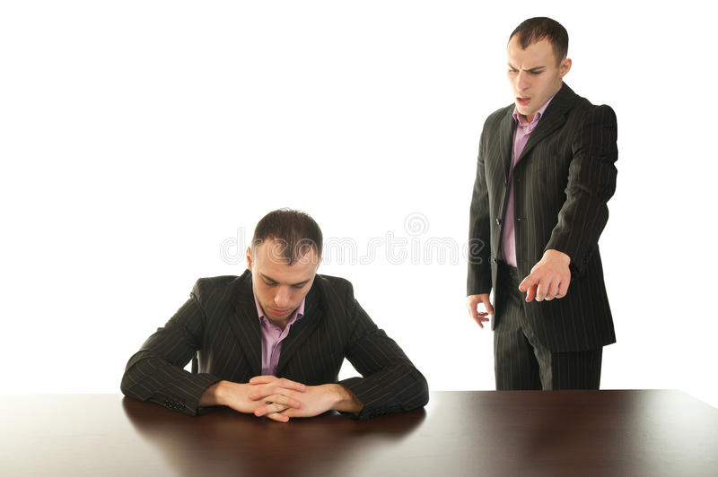 Be your own boss. Businessman yelling at himself for not doing a good job stock photos