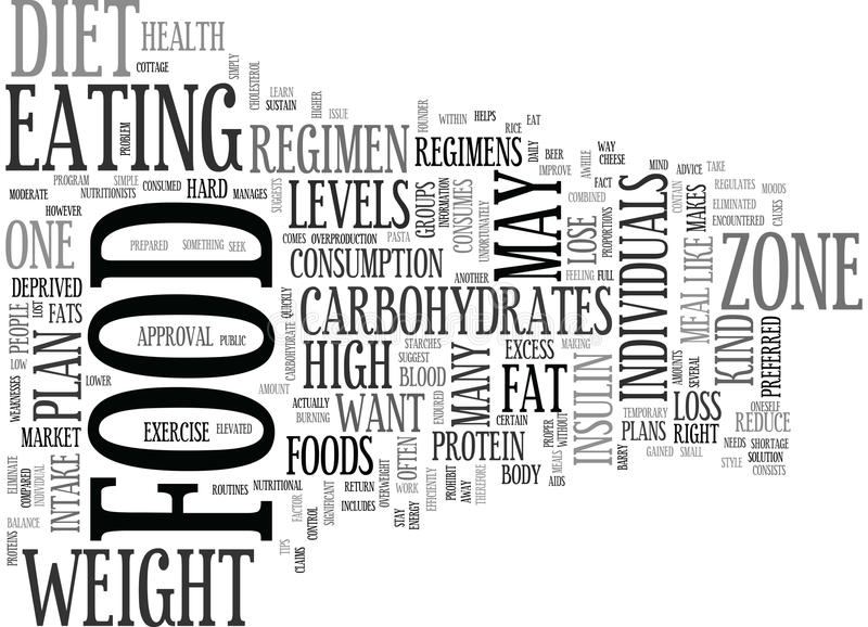 Be In The Zone With The Right Food Plan Word Cloud royalty free illustration