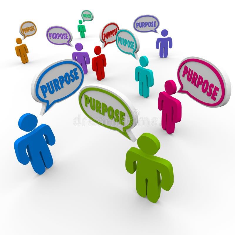 Beabsichtigen Sie Sprache-Blasen-Ziel-Auftrag-Ziel der Leute-3d stock abbildung