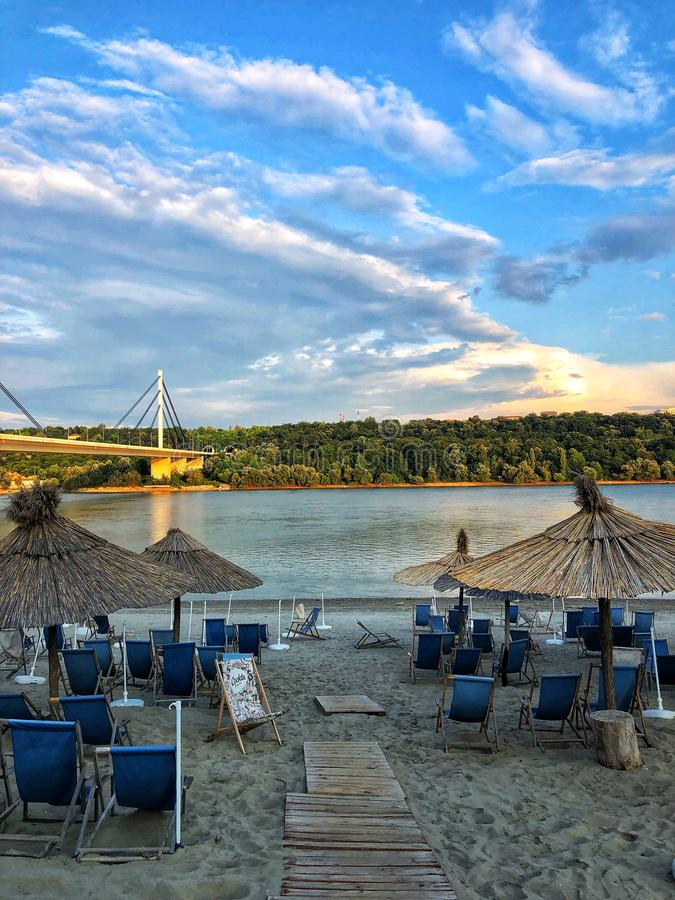 Beach at Serbia stock photography