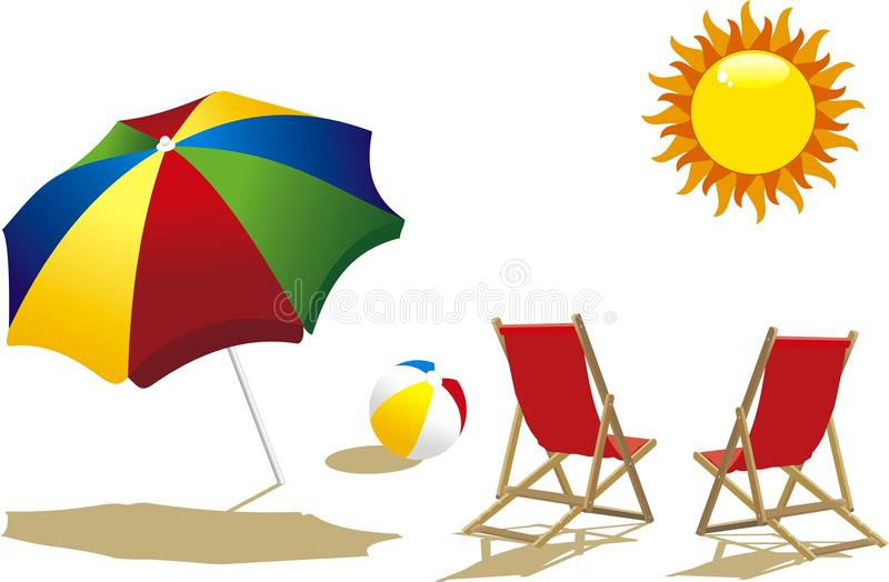 Download On the beach stock vector. Image of deckchairs, wooden - 13525260