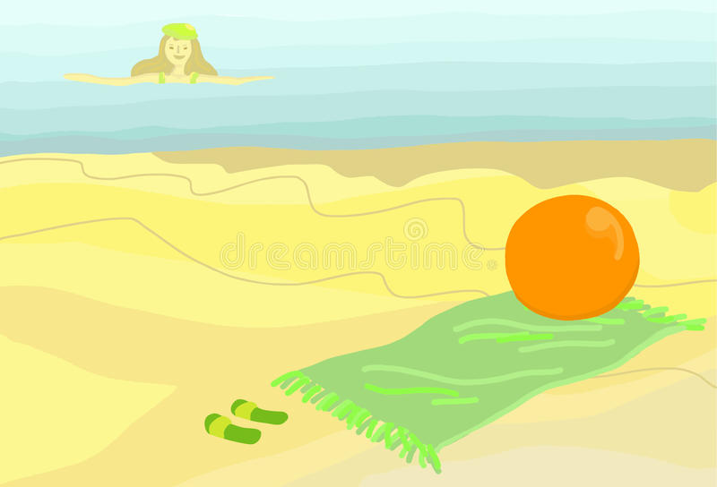 Download On the Beach stock vector. Image of sunny, woman, swim - 16046558