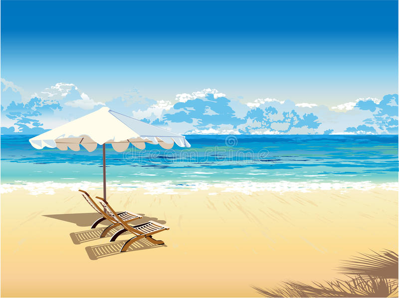 On the beach royalty free illustration