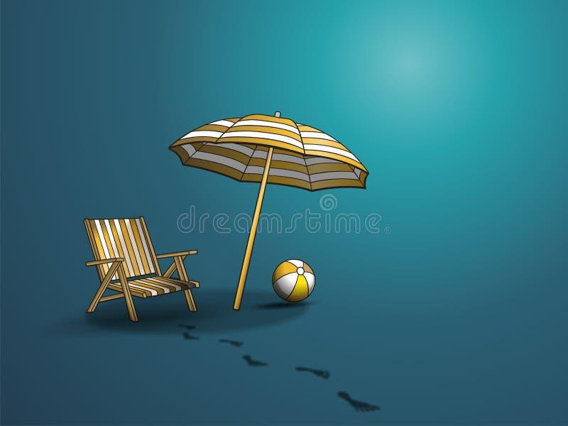 On the beach. Static vector illustration stock illustration
