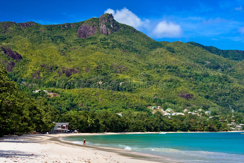 The beach. Bea vallon beach on seychelles royalty free stock images