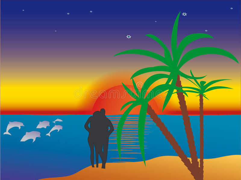 Beach. Sun couples water love beach sea summer people sand adults romance waves on coastline silhouette dusk sky sunset leisure vacations married relaxation royalty free illustration