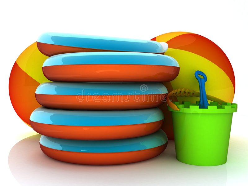 On the beach. 3d illustration of summer equipment like bucket and spade