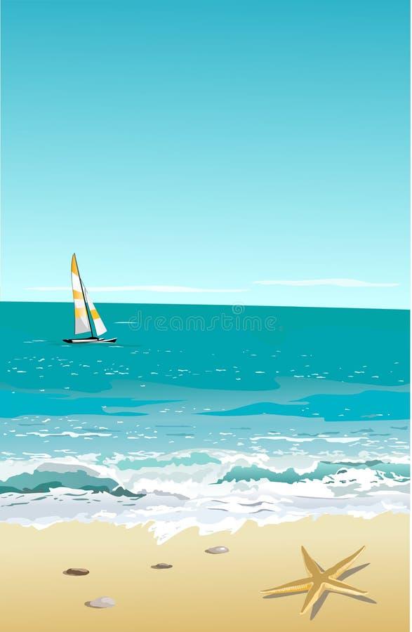 Beach. Summer scene with tropical beach