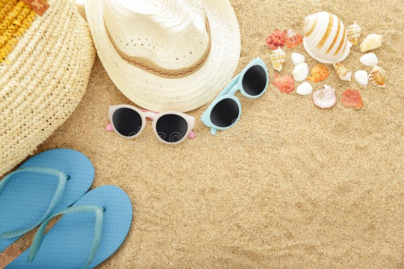Beach accesories on sands stock photo