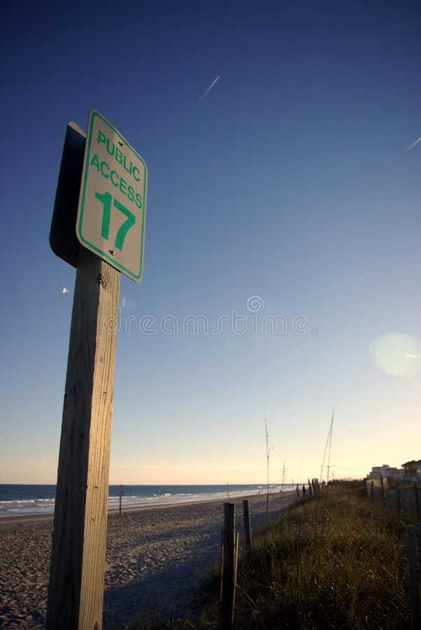 Beach Access 17. Beach access sign in Wrightsville Beach, NC at sunset royalty free stock images