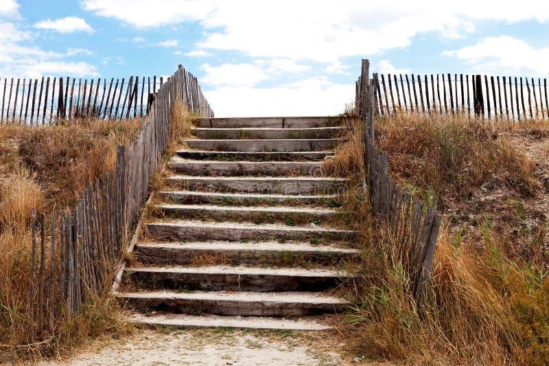 Beach access over protective dunes royalty free stock photos