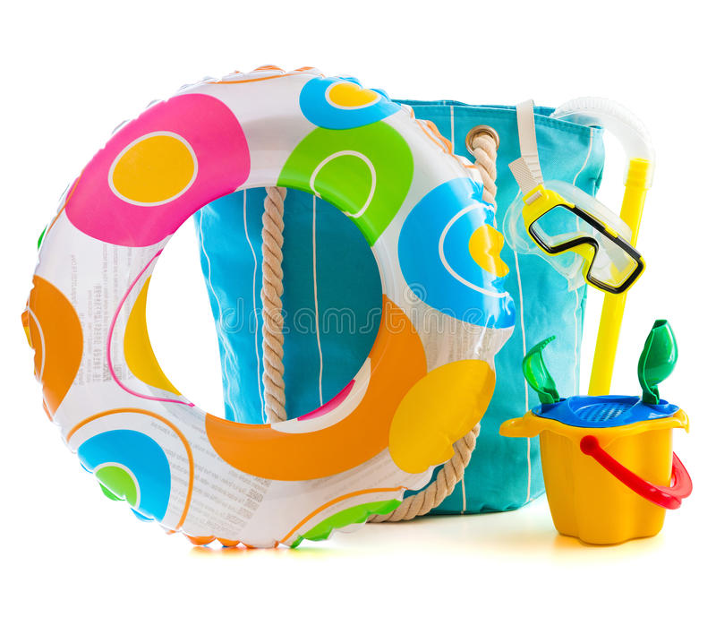 Beach accessories. Bag with beach accessories isolated on a white background stock photo