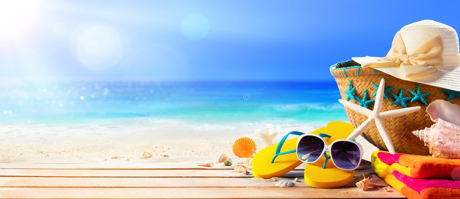 Beach Accessories On Deck Beach. Summer Holidays stock image