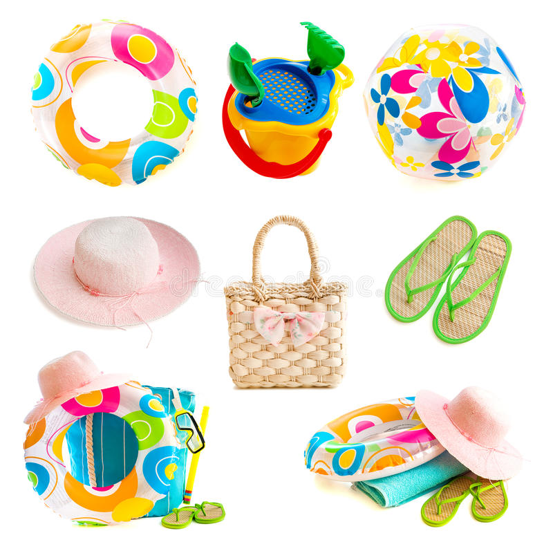 Beach accessories. Photo collage beach accessories isolated on a white background royalty free stock images