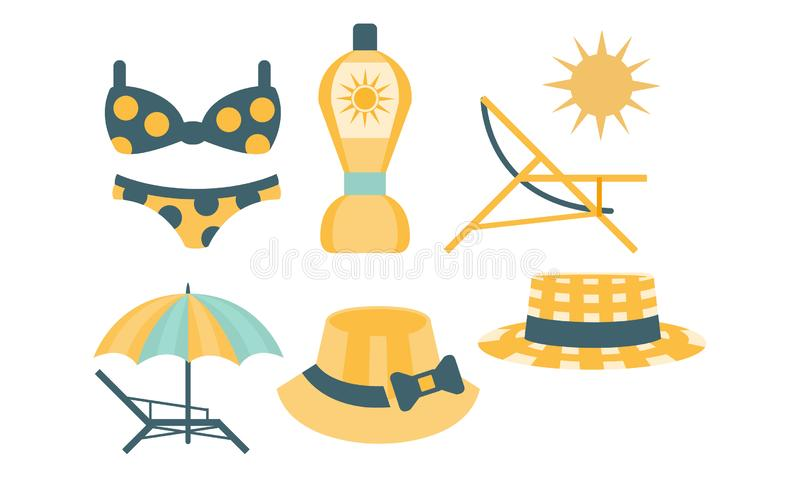 Beach Accessories Set, Skin Protection Elements, Hat, Swimsuit, Umbrella, Chaise Lounge, Sunscreen Vector Illustration. On White Background stock illustration