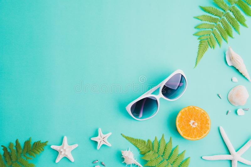 Beach accessories sunglasses, starfish, orange, fern leaves and sea shell on green background for summer holiday and vacation. Concept stock image