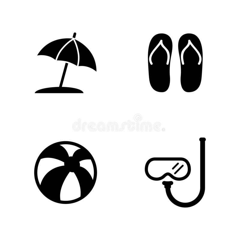 Beach Accessories, Vacation. Simple Related Vector Icons stock illustration
