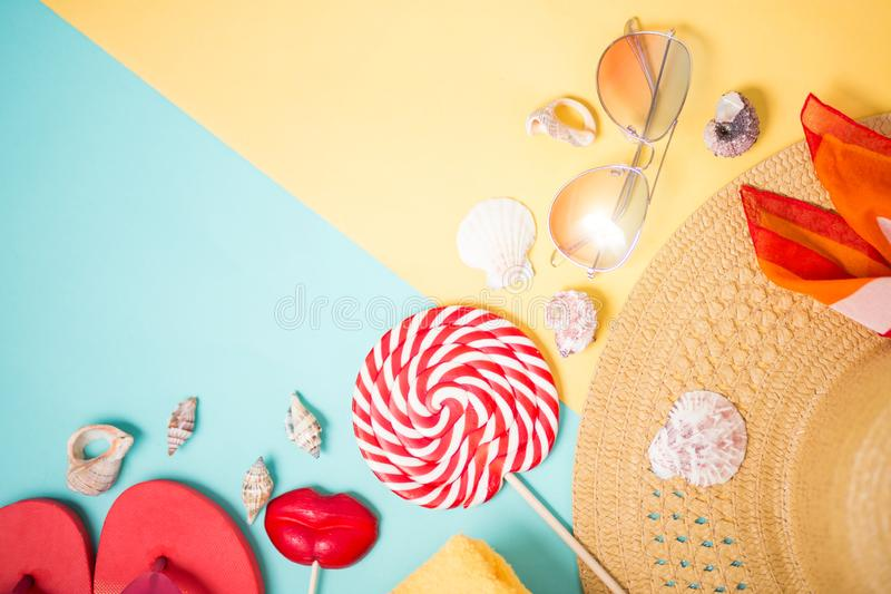Beach accessories on yellow blue background royalty free stock photos