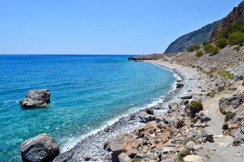 Beach in Agia Roumeli royalty free stock photos