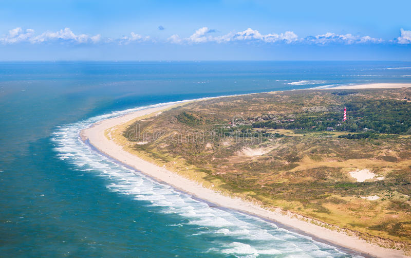 Beach from the air, Holland stock images