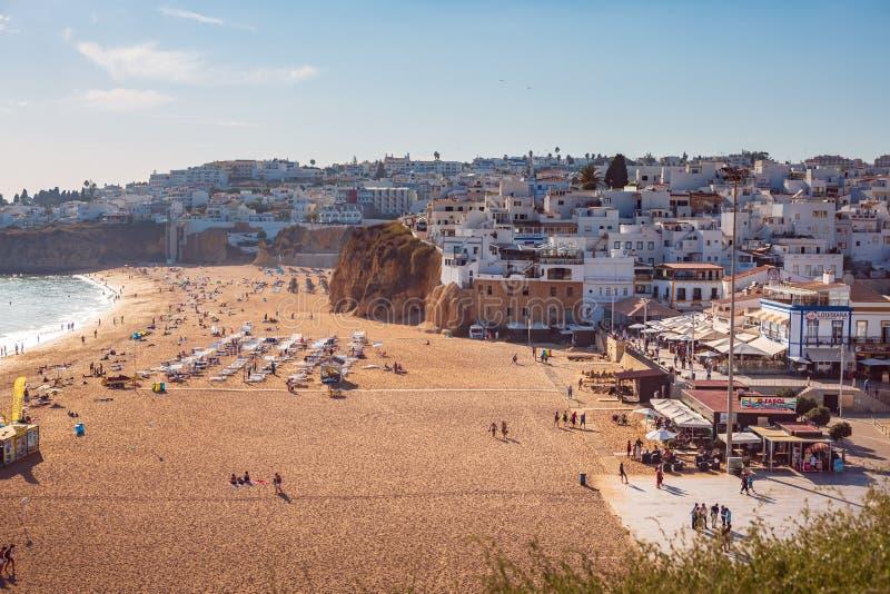 Beach of Albufeira. ALBUFEIRA, ALGARVE, PORTUGAL - SEPTEMBER 24, 2015: The beach of Albufeira, Algarve, Portugal royalty free stock images
