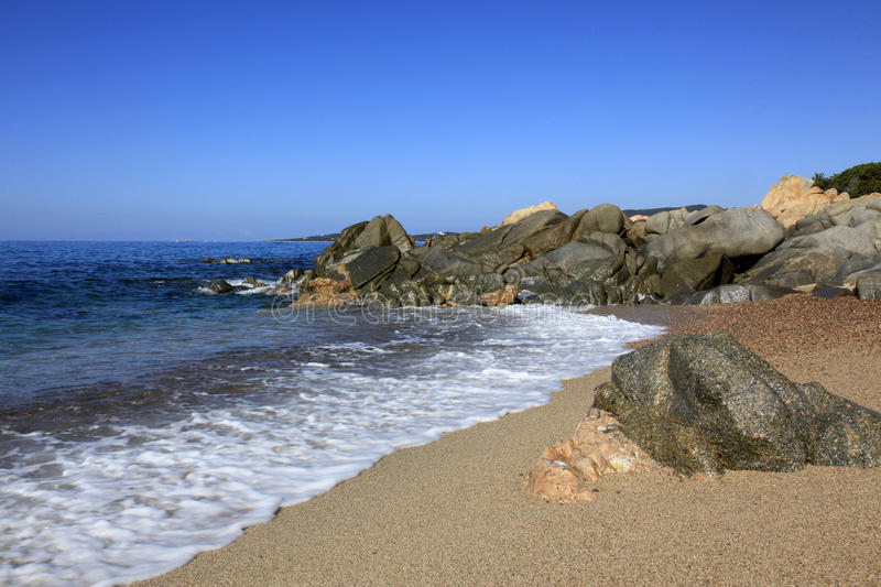 Beach along coast of Olmeto, near Propriano, Southern Corsica. Beautiful coast, beach with rockeries and sceneries north of Propriano in the area of Olmeto royalty free stock image
