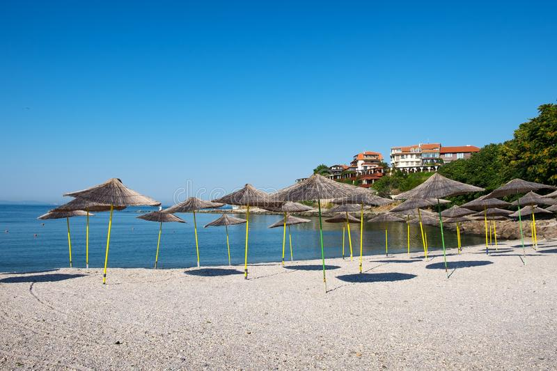 Beach in ancient city of Nessebar, Bulgaria royalty free stock photography