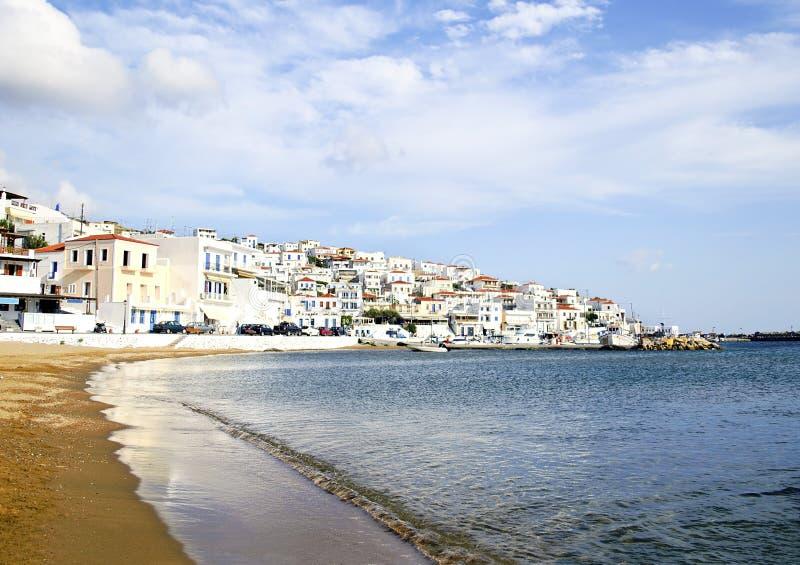Beach in Andros island Greece stock photos