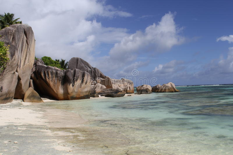 Beach Anse source d'Argent royalty free stock photo